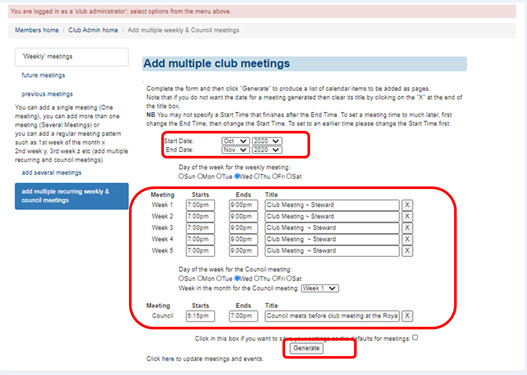 add recurring meetings