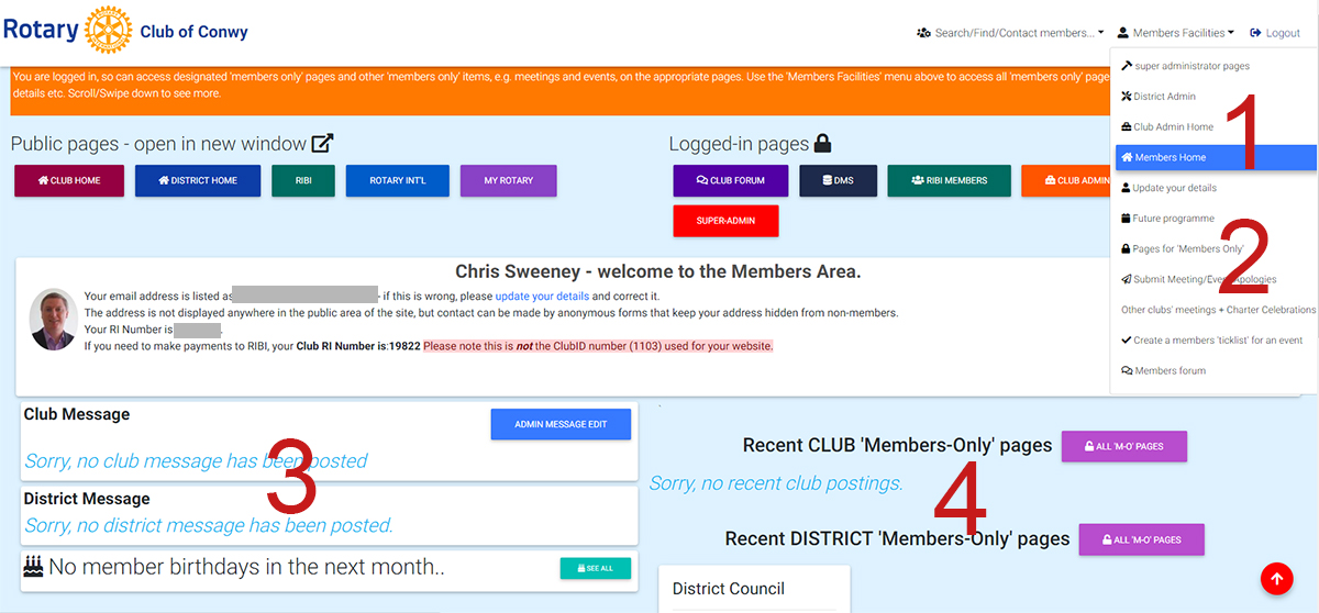Note The Full Menu Is Only Available If Your Club Using Website Template And Making Annual Payment To Rotary Foundation For Its Use