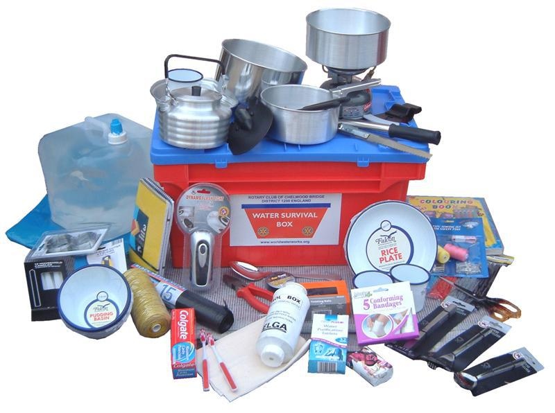 A Water Survival Box contents