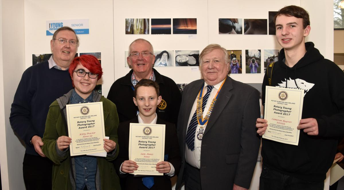 President Derek and the Judges with three of the prize winners