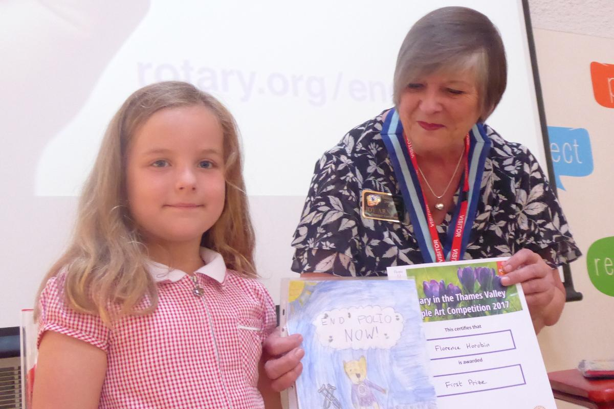 Winners of the Purple4Polio Art Award  - competition winner Florence Horobin with Joy Arnott, District Governor