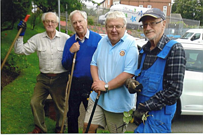 Mike, Chris, Peter and Len working on the Rotherham Hospice garden.