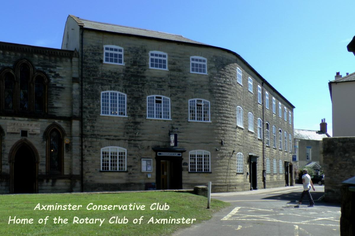 The Rotary Club of Axminster meets in the Conservative Club which is adjacent to the Minster in the centre of the town.