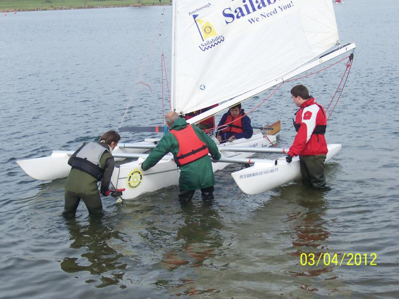 Peterborough  SAILABILITY - Launching a Challenger boat at Ferry Meadows