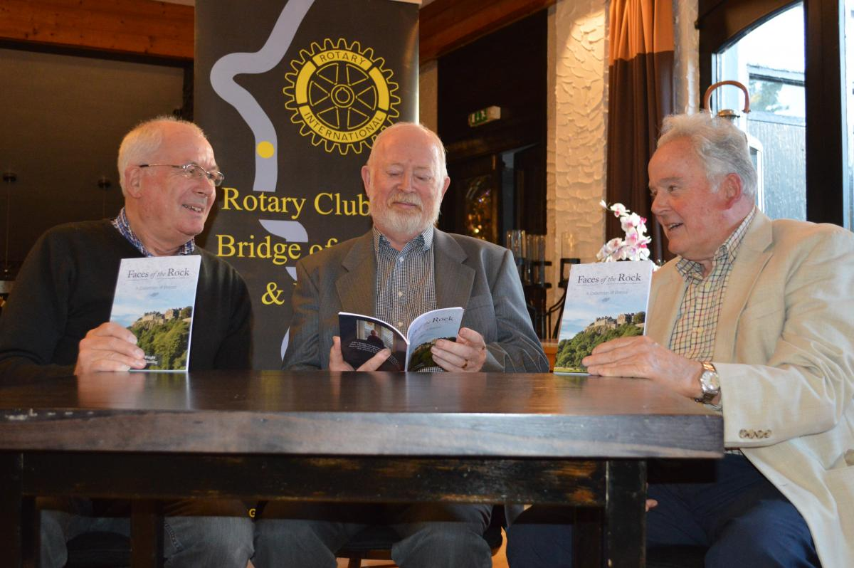 Stirling Council Makar -  Clive Wright Thursday Sept 12 @ 18.30 @ Westlands - Clive Wright with his book, Faces of the Rock, with President elect David Chisholm, left and Ken Murray, right.