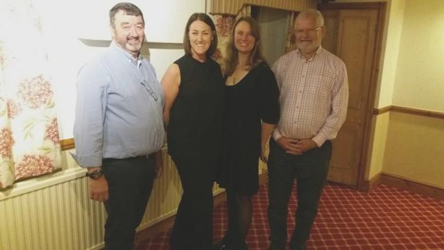 Tracey and Jo with President Robin and speaker finder Gwynfor