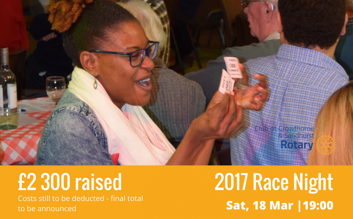 2017 Charity Race Night - £2 038.29 raised - Money was lost and won by punters, but when it came to fun we were all winners, as will be the charities who will benefit from the generosity of everyone who attended the event.