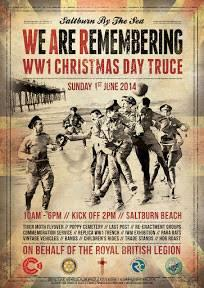 Saltburn War Memorial Restoration - Poster advertising re-enactment of World War 1 Christmas Day truce football match