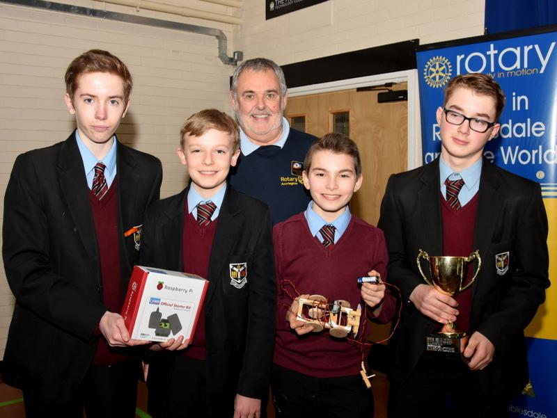 Technology Tournament, Accrington 2017 - St. Augustine's winning Foundation Team with DG Malcolm