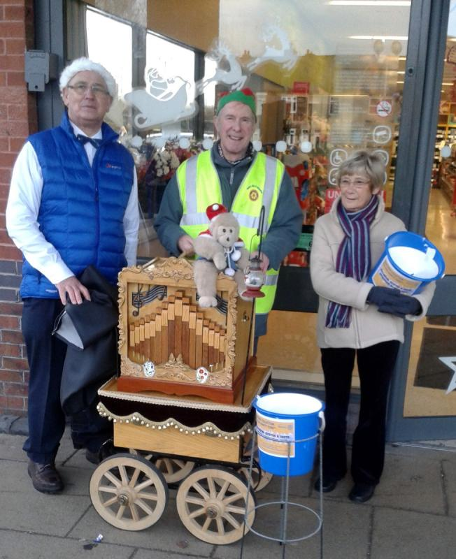 Roger, John and Jean (chair of the village hall) at the Kiveton Park Christmas Collection.