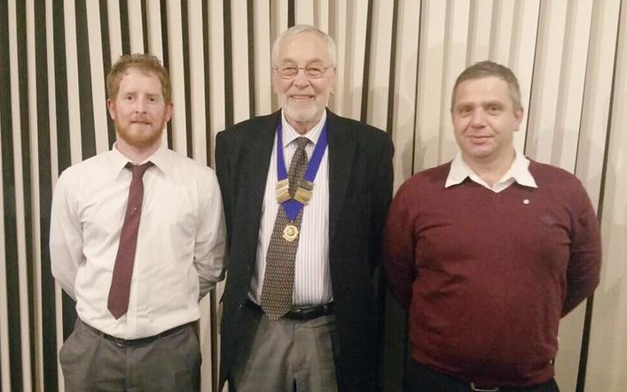 Two full members inducted tonight Matthew McCabe & Danny Hindson, pictured with President Les Manship