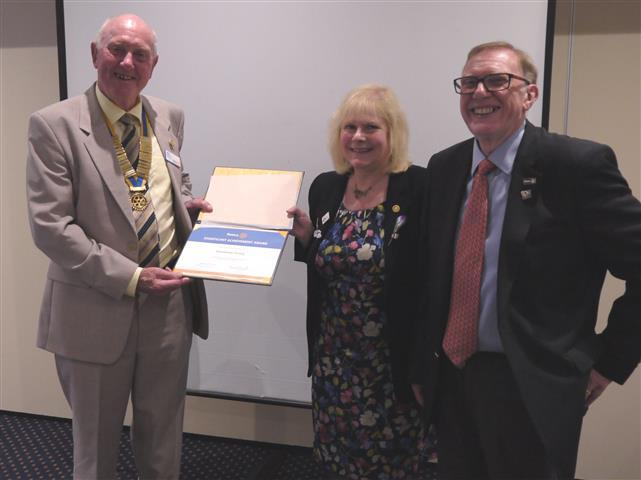 Left to right in the picture are Mike Harvey, President of Chichester Priory Rotary Club, Eve Conway, President of Rotary in Great Britain and Ireland and Frank West, Rotary District Governor.