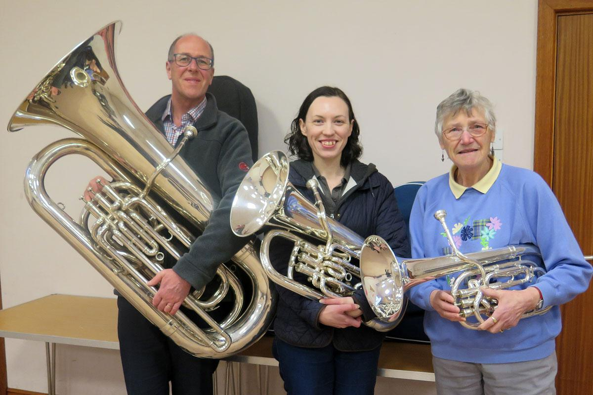 Members of the Porthywaen Silver Band with their new instrument cases as bought with support from the Mary Hignett Bequest Fund