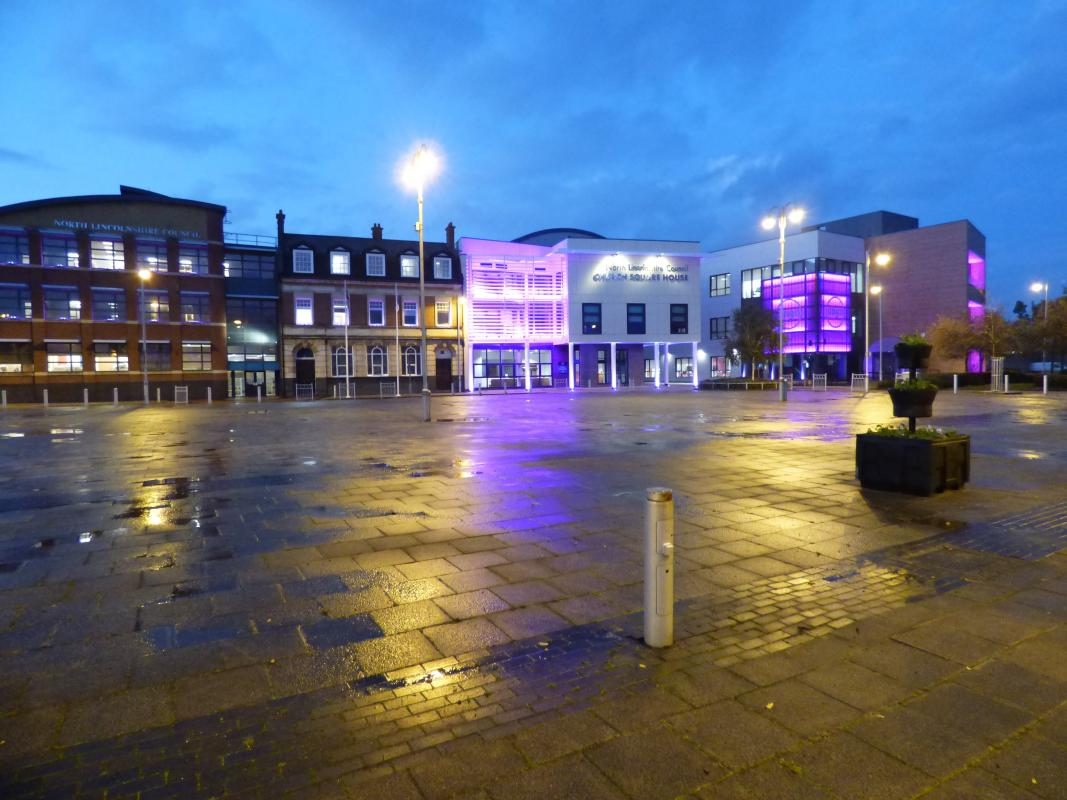 Church Square, Scunthorpe, was Purple For Polio in October 2019