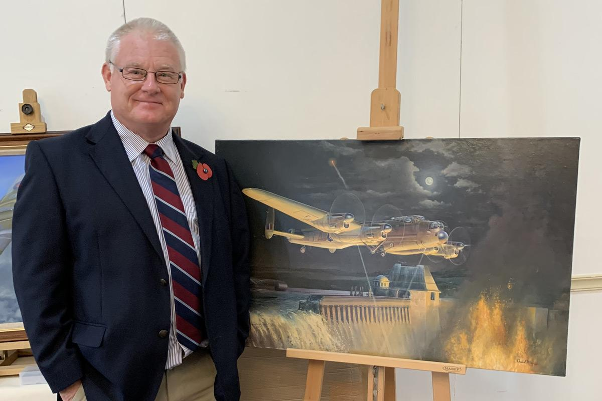 Charles with his painting of a Dambusters Lancaster