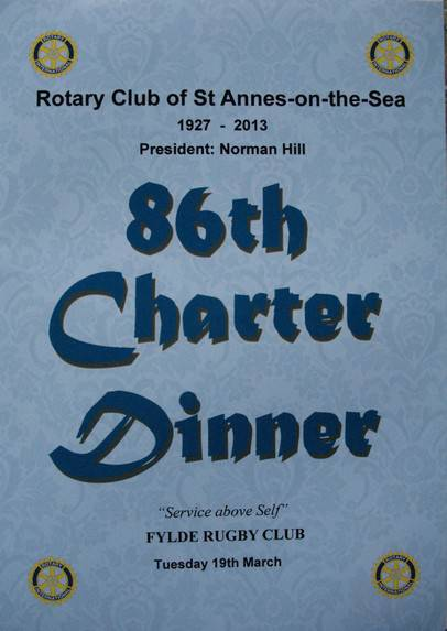 2013 Charter Anniversary Dinner - The 86th Charter Anniversary Celebration of the founding of our Rotary Club.