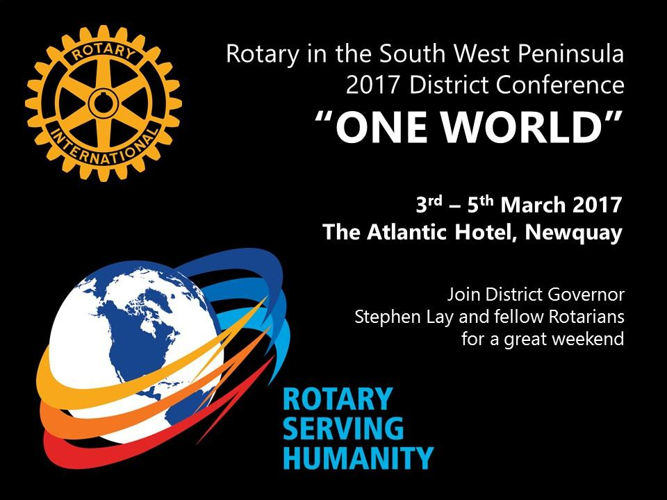 2017 Rotary District 1175 Conference at the Atlantic Hotel, Newquay from 3rd to 5th March 2017