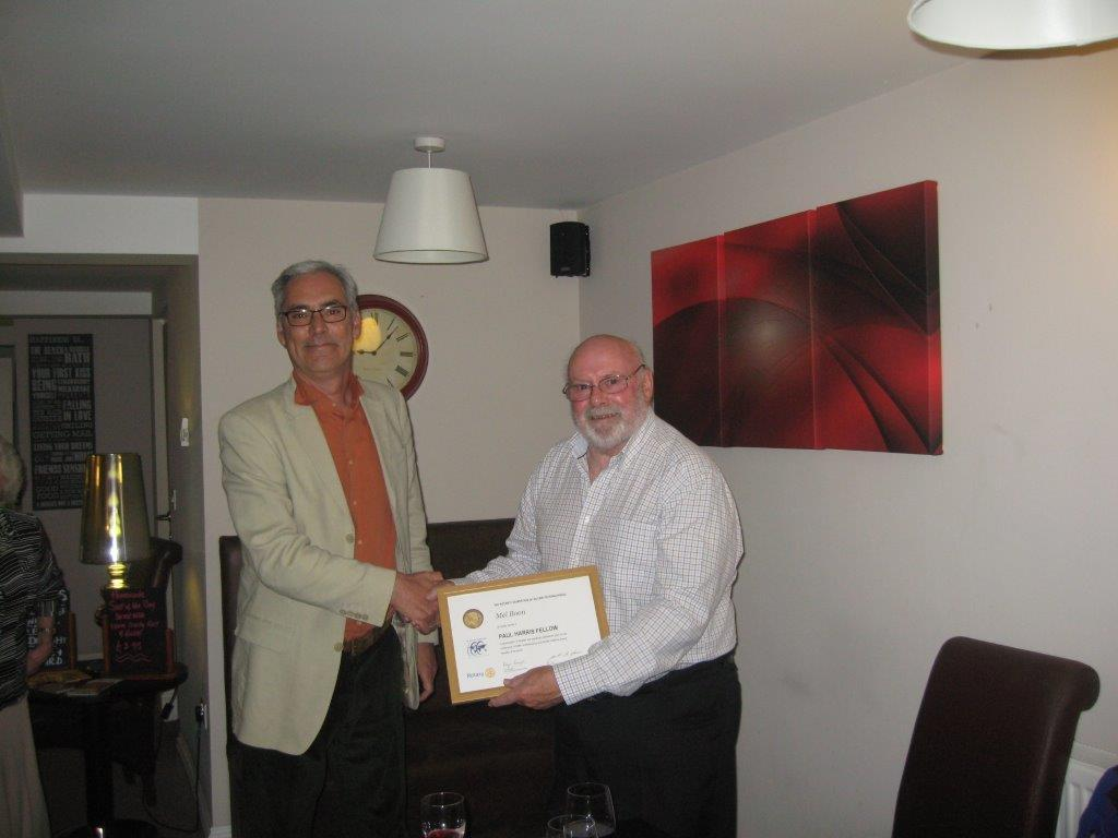 Past President Mel Boon receives his award