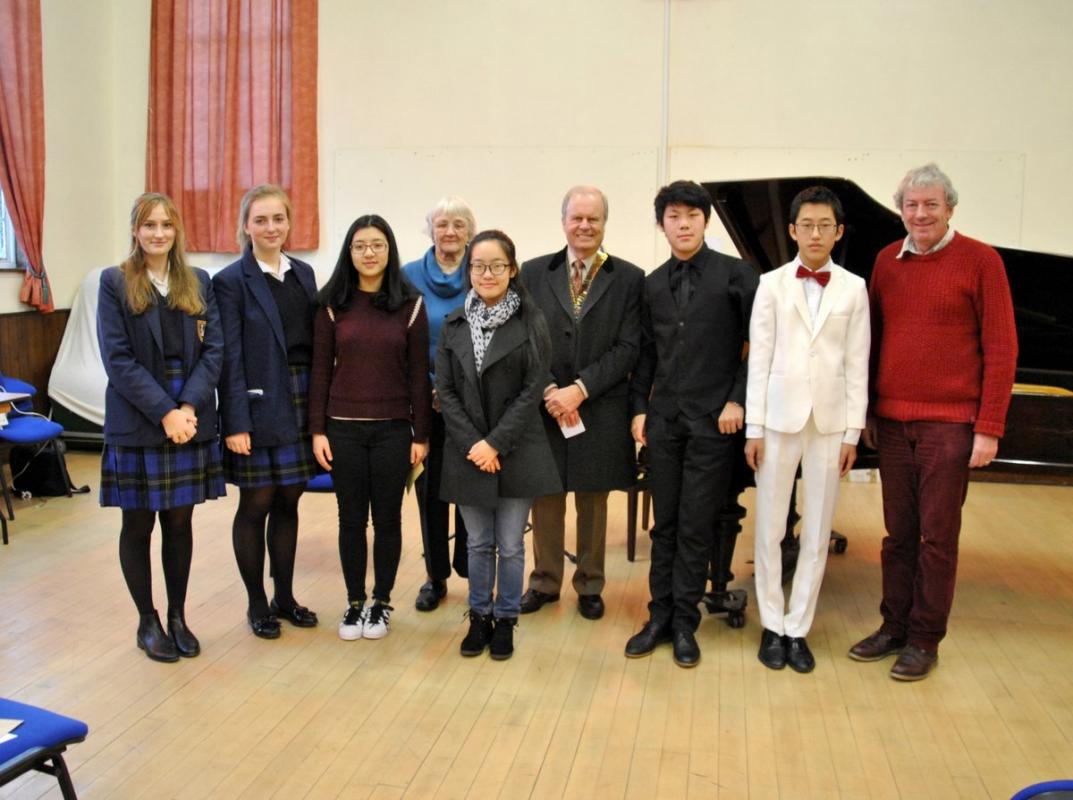 From left to right Annika, Caroline, Lucy, Margaret Davies, Gloria, Patrick, Albert, Jason and Graham Trew