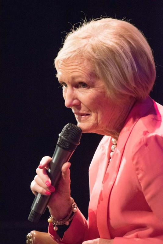 Mary Berry on the stage at Strode Theatre in Street