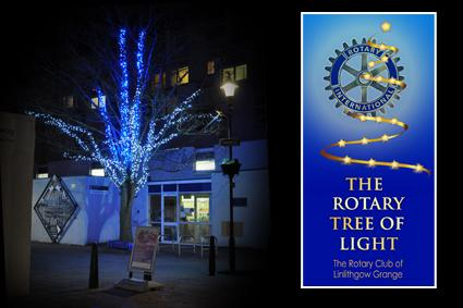 Rotary Tree of Light - December 2018 - The Rotary Tree of Light outside Linlithgow Library