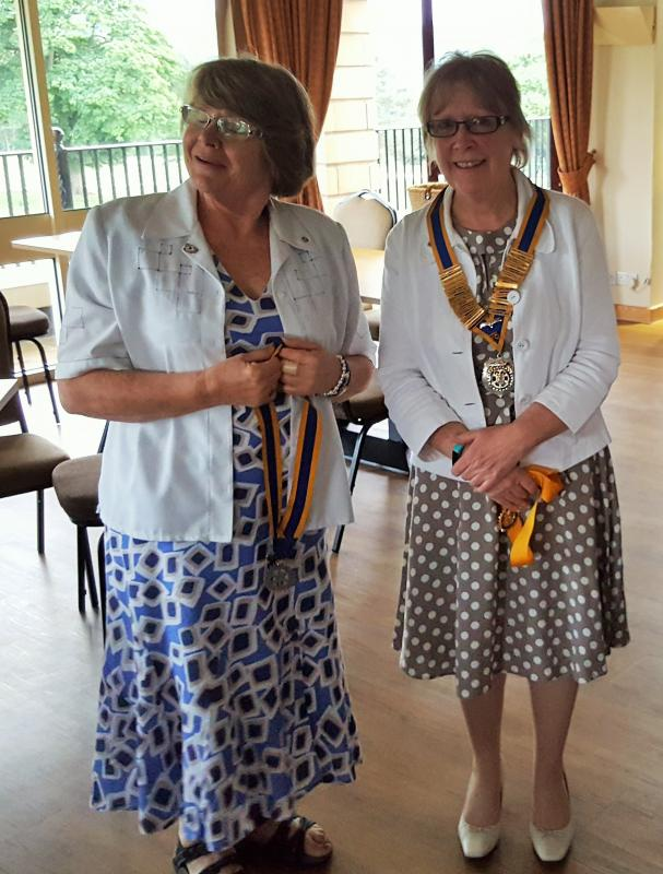 OUR MEETINGS AND SOCIAL EVENTS - President Sue Young hands over office to incoming President Gill Poole