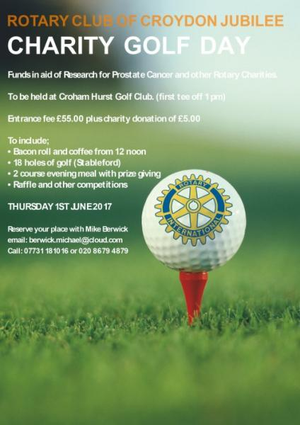 Charity Golf Day. - First tee off at 1 pm.