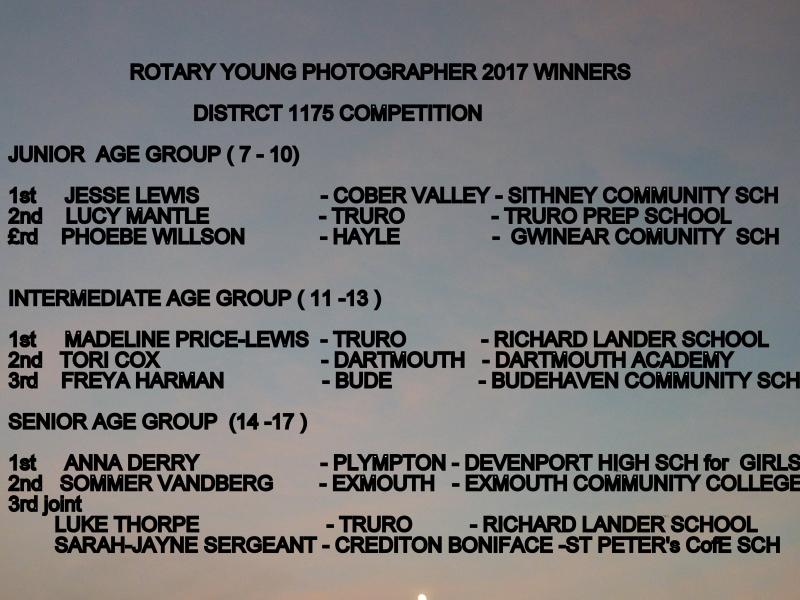 DISTRICT WINNERS YOUNG PHOTOGRAPHER 2017  -CLICK HERE FOR SLIDE SHOW