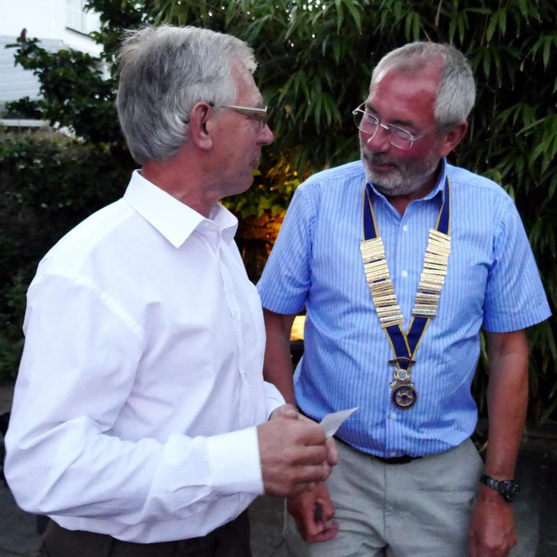 Club Handover - Outgoing Club President Clive Littleton hands over to incoming Club President Graham Holland