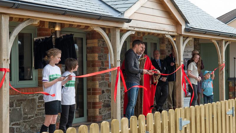 Cutting the Ribbon(s) - members of Holsworthy Cricket Club, and Holsworthy Youth Football Club cut the ribbons.