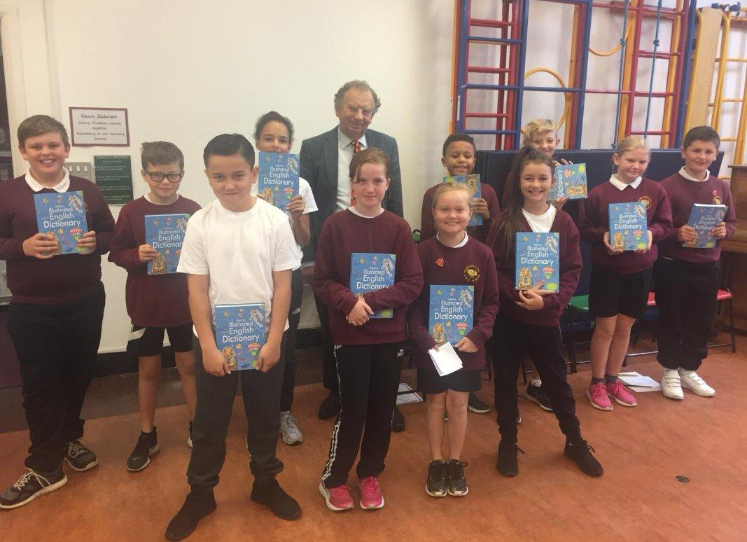 Alan presenting Dictionaries to pupils of Margaretting Primary School
