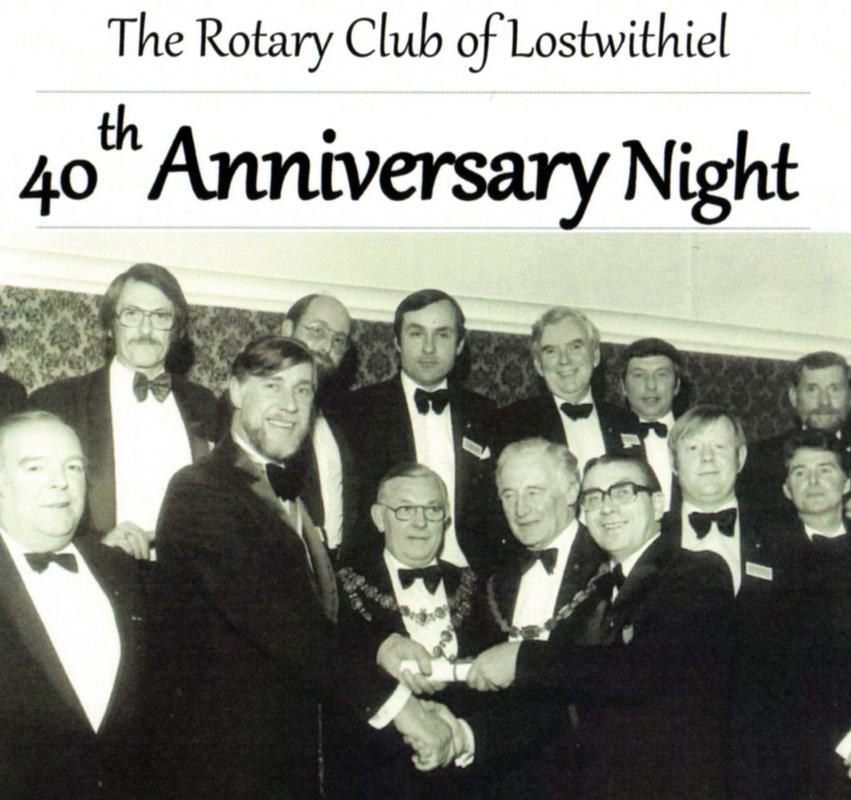 RC of Lostwithiel's 40th Anniversary Charter Dinner - A sumptuous dinner was held in the Fowey Valley Hotel on 9th February 2019 to celebrate the Rotary Club of Lostwithiel's 40th Anniversary since the club was formed and formally awarded its Rotary International Charter in 1979