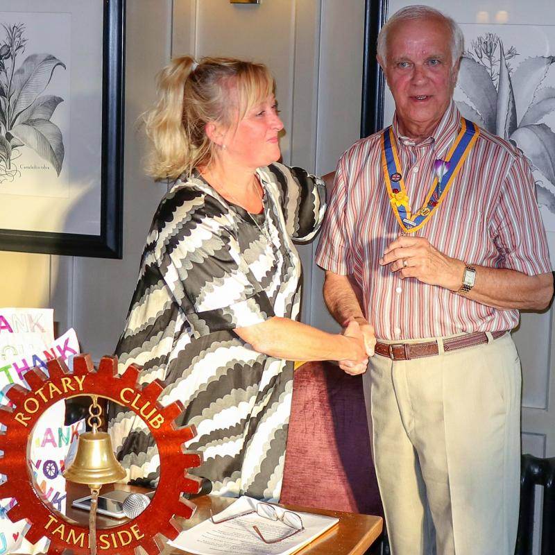 Monthly Meeting plus Installation of New President at Broadoak Hotel - New President Cliff Hall congratulated by Yvonne