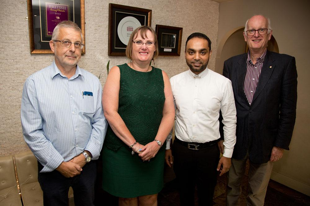 Joint Presidents Andrew Bragg and Tim Westbrook with Mandy Gardner of Bath Rugby Foundation, our nominated  charity for 2016/17 and Moe Rahman owner of the Mint Room who hosted our Quiz night , an important fundraising event.