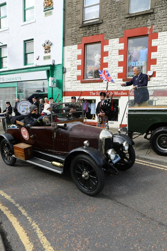Drive it Day Day 28 April 2019 - The Lord Lieutenant flagging the cars off from the Wellmeadow, Blairgowrie