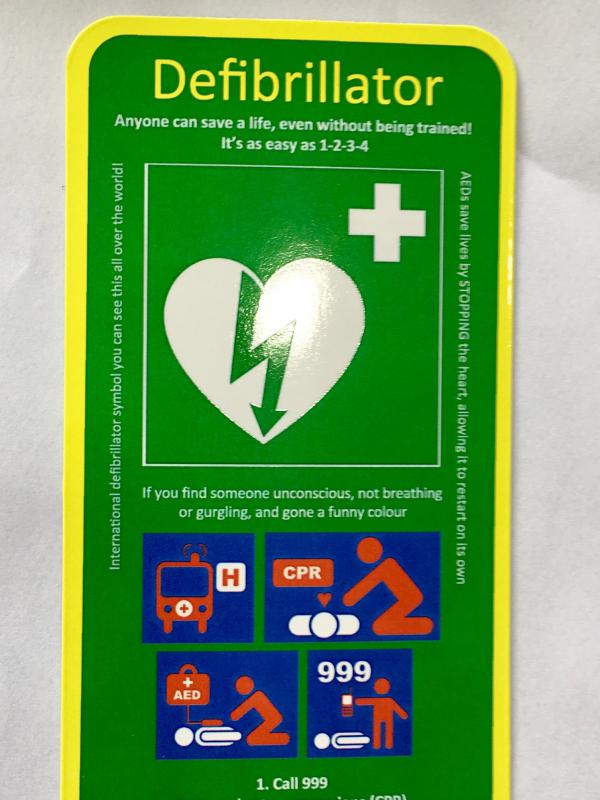 Defibrillator information magnets made available for our community