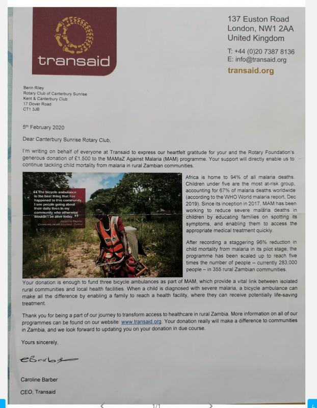 Letter of thanks from Transaid