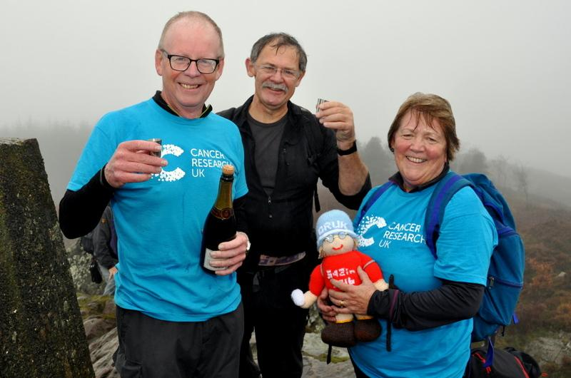 Bill's Big 542 in 2016 Challenge for Cancer Research UK - Bill Honeywell, Bill Birkett and Val Honeywell celebrating reaching the 542nd summit in 2016