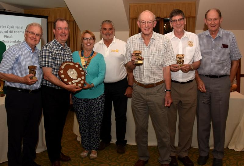 DG Malcolm and President Mary present the awards to the Garstang and Over Wyre Quiz team.