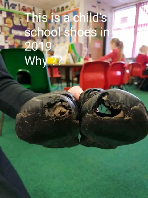 A child's school shoes in 2019
