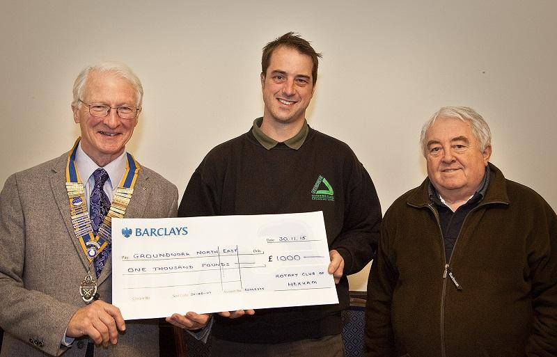 Rotary Grant to Groundwork  - Cheque presentation (from left): Stephen Middleton, President of The Rotary Club of Hexham, Groundwork Project Officer James Stafford and Peter Oliver Junior Vice-President of The Rotary Club of Hexham