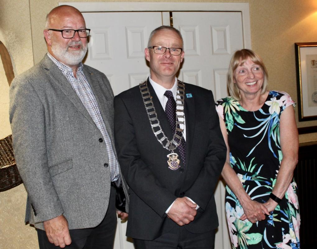 Rotarian Michael Keene Takes Over as President 2019-2020 - Photograph (a) L-R Keith Shedden (vice president) Michael Keene (president) and Liz Baxter (outgoing president)