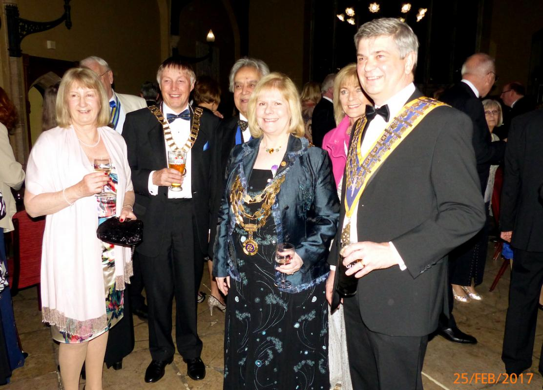 From left: Deidre Rothwell wife of Rotary District 1080 Governor Derek Rothwell, Robert Ghazi husband of Rotary International GB & I Eve Conway, Suzzanne Peliiizzaro, wife of Michael Pellizzaro President of the Rotary Club of King's Lynn