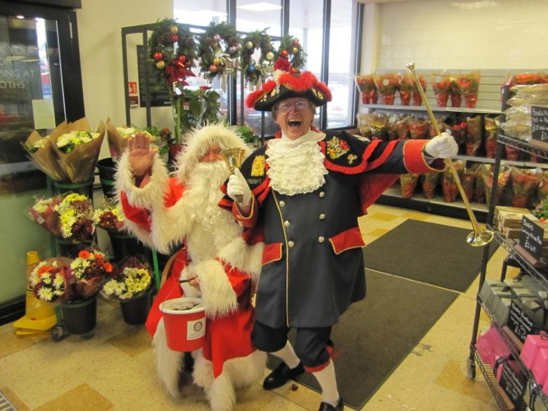 SANTA AND THE MUSICAL SANTA SLEIGH VISITS THE MARTON BOOTHS STORE  - Santa and Town Crier Barry McQueen