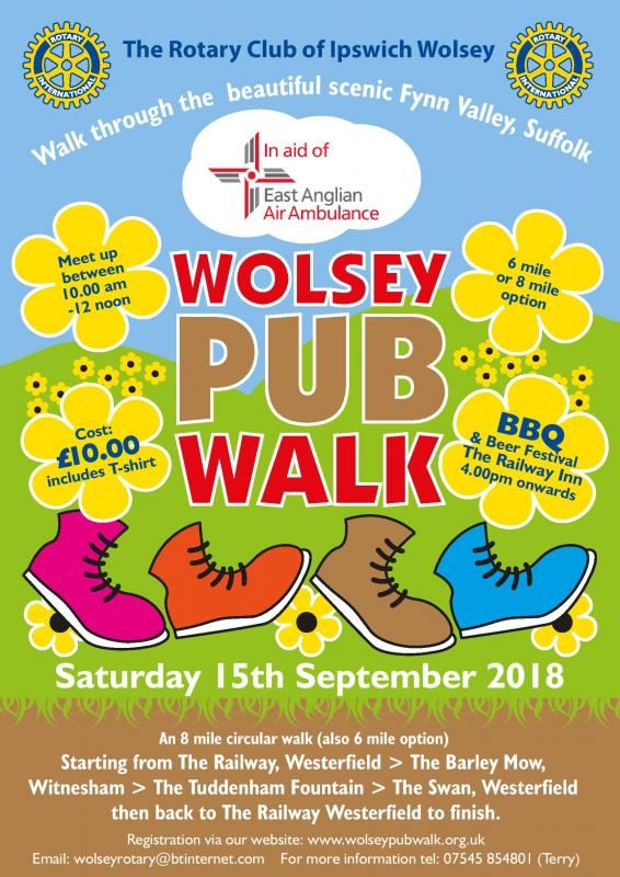 WOLSEY PUB WALK - A big thank you to all who participated in and helped to organise this year's Wolsey Pub Walk 2018. Look out for details of next years walk and visit our website: http://www.wolseypubwalk.org.uk
