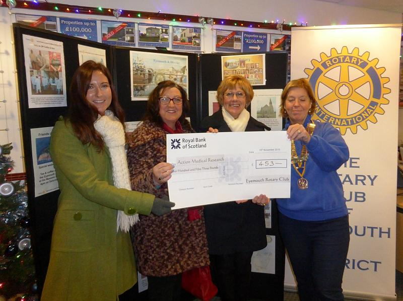 Cheque for Action Medical Research