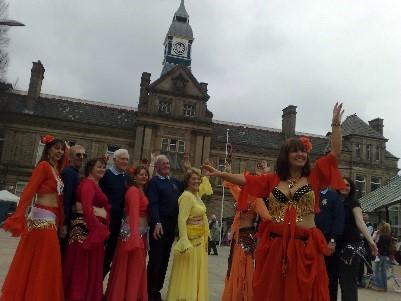 Belly Dancers & Rotarian at Darwen Market