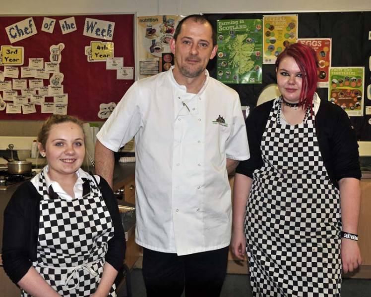 Young Chef Preston Lodge Heat 2013 - Amy Sinclair left runner up Judge Martin Kelly and winner Morgan McKinlay