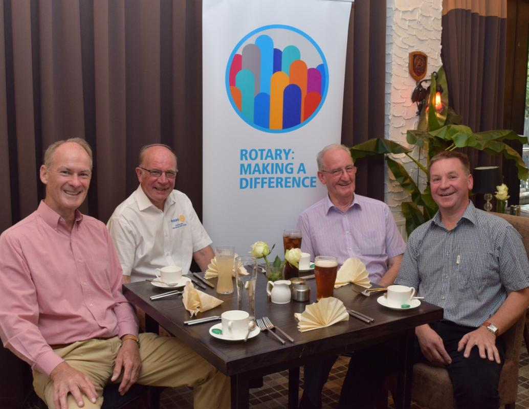 Visit of District Governor - Graeme Archibald 3 August 2017 - District Governor Graeme with George, Andrew and John