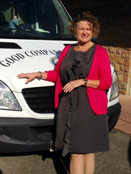 Good Companions Team and What We Do. - Angie keeping the minibus clean!